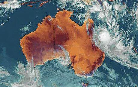 epa01658587 A handout image released by the Bureau of Meteorology, Japan Meteorological Agency on 08 March 2009 of an infrared satellite image dated 08 March 2009, showing the progress of cyclone Hamish over Australia. Australian Emergency services personal are being deployed from all around the state of Queensland to prepare for the approach of Tropical Cyclone Hamish, now a Category Five storm, as it creeps towards the Whitsunday Islands. EPA/JAPAN METEOROLOGICAL AGENCY / HO AUSTRALIA AND NEW ZEALAND OUT EDITORIAL USE ONLY
