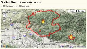 station fire location map