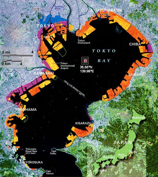 tokyo bay quake forecast map