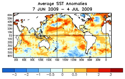 avg SST anom 7jun-4jul 09