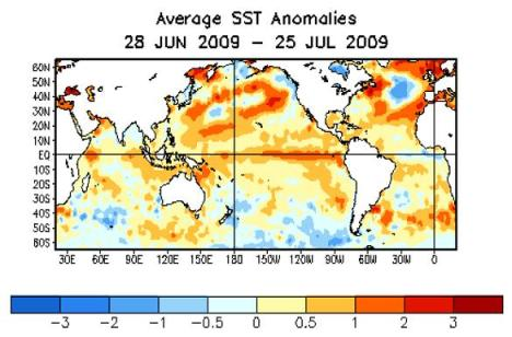 avg sst anom global 28 jun - 28 jul 2009
