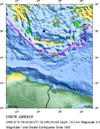 historic seismicity crete area