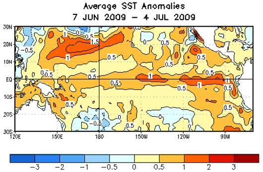 sst anomalies 7jun-4jul 2009