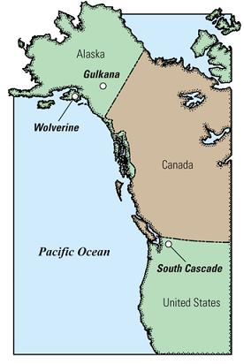 glaciers map