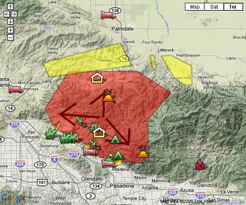 Azusa Canyon Fire Map.Big Tujunga Canyon Fire Earth