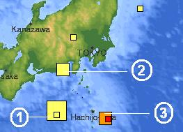 Location map japan quakes