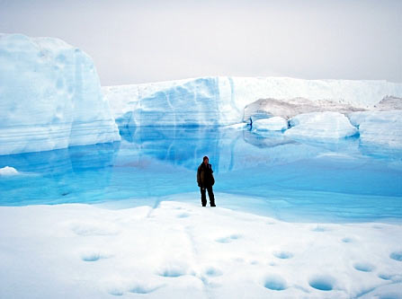 Glacial meltwater lake in Greenland