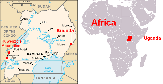 africa map showing uganda