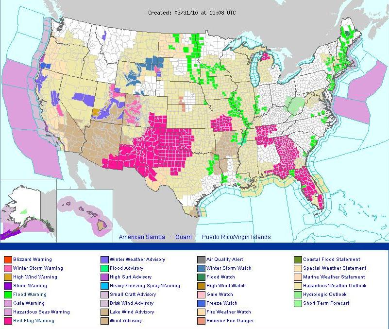 US Flood Fire Earth - Map of flooding in us