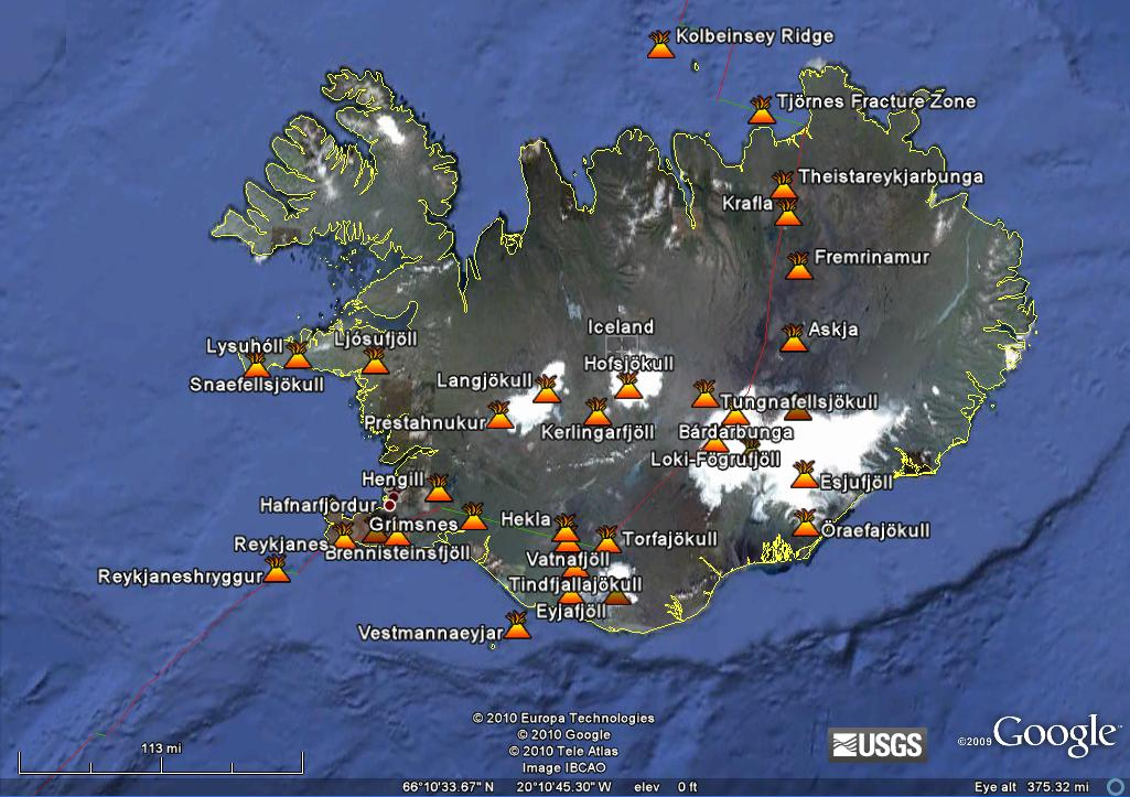 A Map of Iceland Volcanoes. Click image to enlarge.