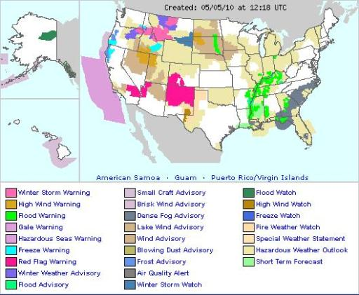 US Weather Forecast Fire Earth - Us weather warnings map