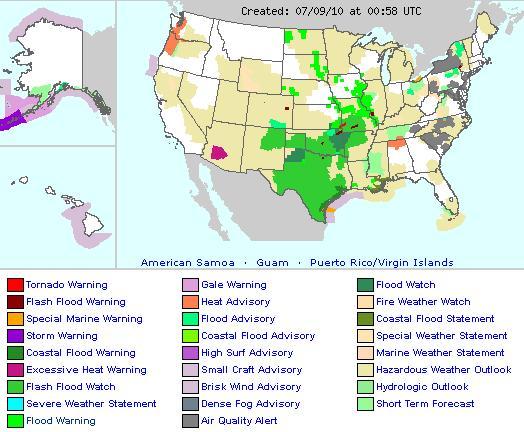 Weather forecast flood warning