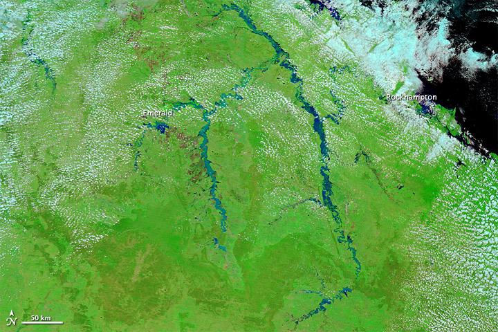NASA satellite images of flooding in Queensland, Australia