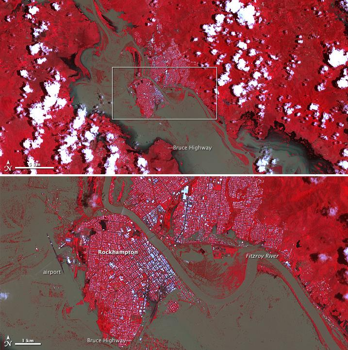 Flooding in Rockhampton, Queensland. Image captured by ASTER on NASA's Terra