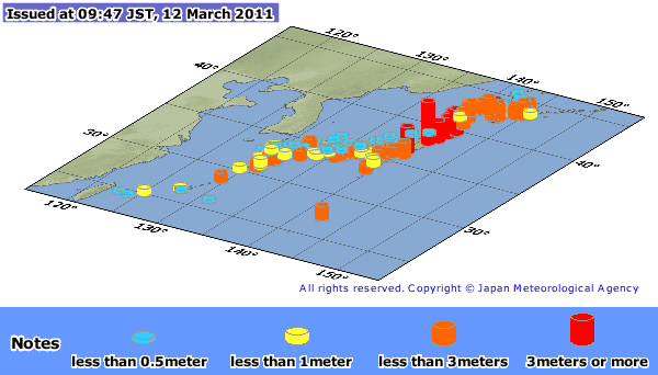 map of japan tsunami. Maximum Tsunami Observation