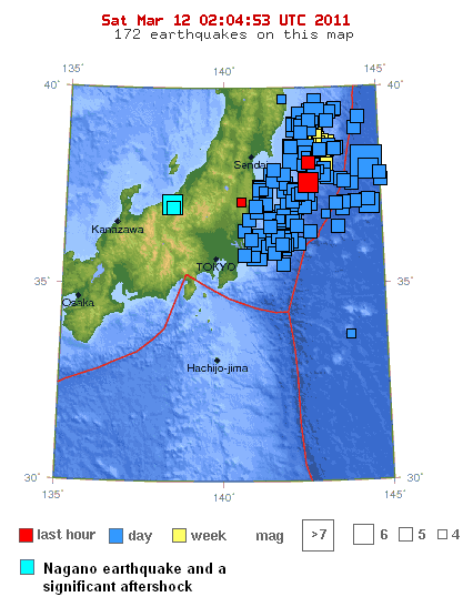 map of japan earthquake 2011. Sendai Mega Quake � Update