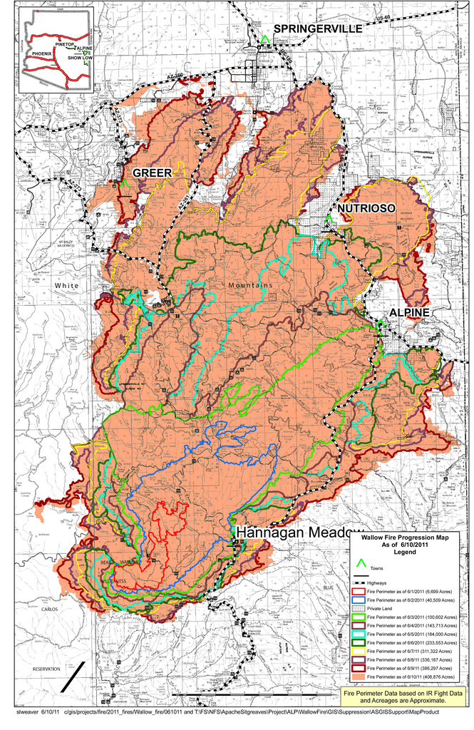 Okefenokee Fire Map.Wallow Fire Map Fire Earth