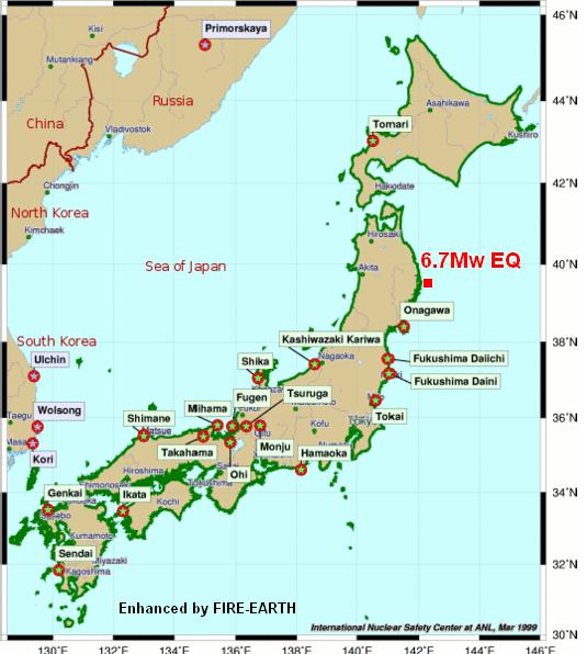 Japan Earthquake Fire Earth - Japan map honshu