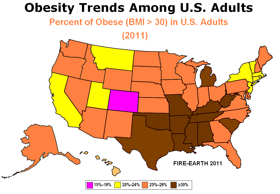 2011 Map for Percent of Obese  BMI  gt  30  in U S  Adults   Source  FIRE    Fast Food Obesity Adults