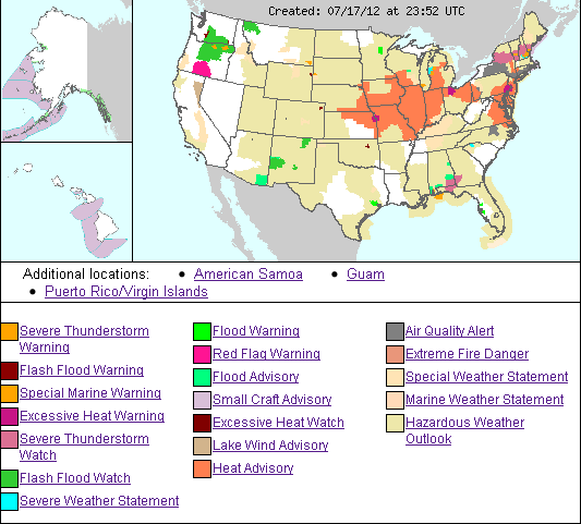 U S Weather Hazards Map Source Nws