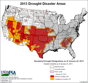 2013 us drought disaster areas