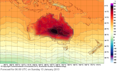 Aust Temps forecast map