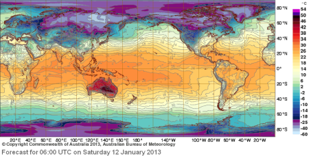 Global Temp forecast map