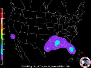 Probability of tornado in Jan 1980-1994