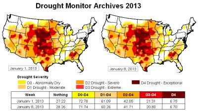 u-s drought monitor - 8jan13