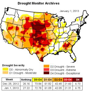 us drought map 1jan2013