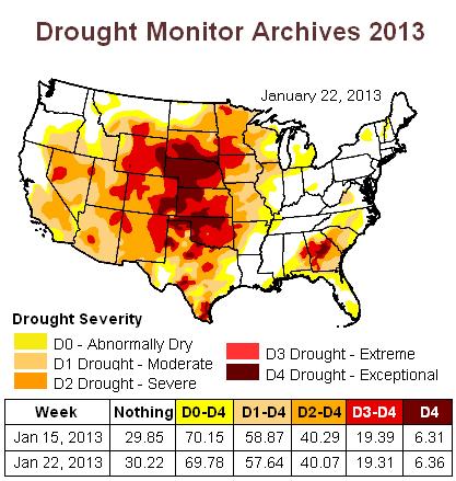 us drought map 22jan2013