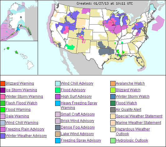 US Weather Hazards Map Fire Earth - Us weather alerts map