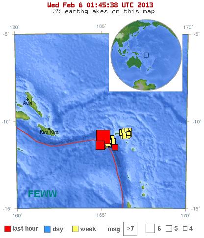 EQ location Solomon Islands