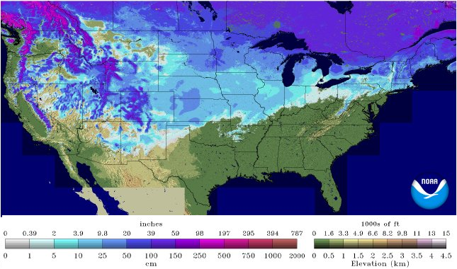 See US CA Snow Depth Totals Online National Snow Analyses NOHRSC - Us snow cover map noaa