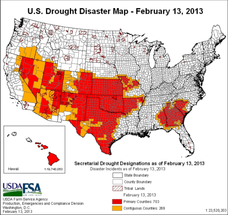 US drought disaster map 13feb2013