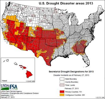 us drought disaster map 27feb2013