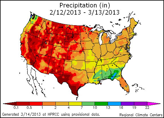 US monthly precipitation map mar-feb-2013