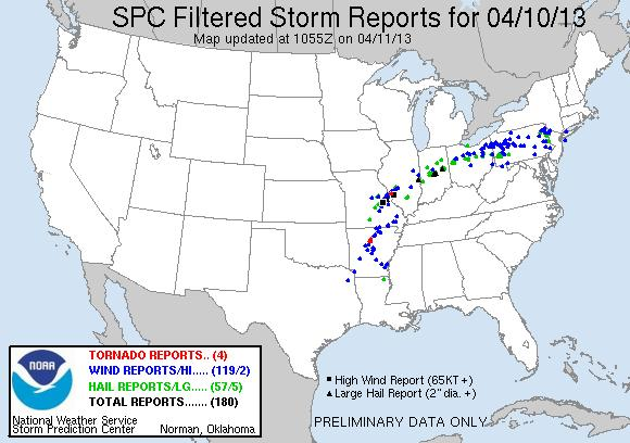 spc filtered storm report 10apr13