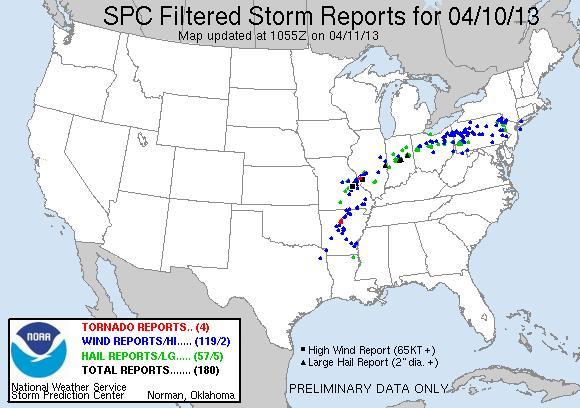 spc filtered storm report 10apr13