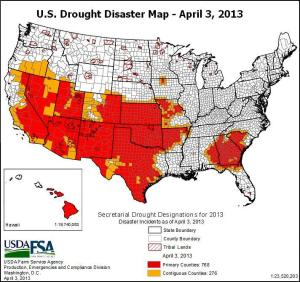 us drought disaster map 3apr2013