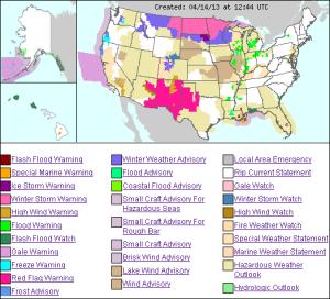 US weather hazmap - 14apr2013