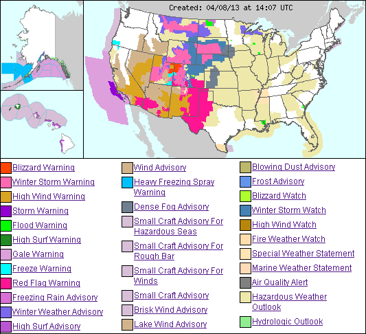 US weather hazmap - 8apr2013