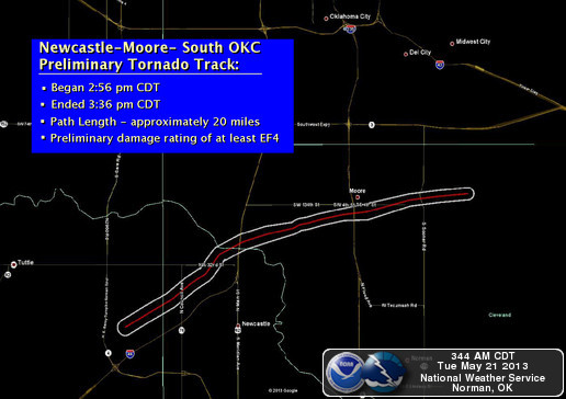 Moore tornado path -NWS