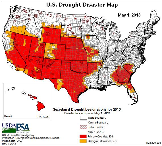 us drought disaster map -1may2013