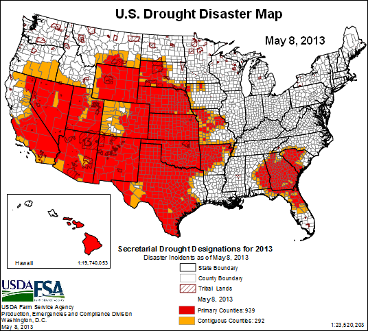 us drought disaster map - 8may2013