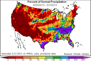 us precipitation anomalies map week 25 apr