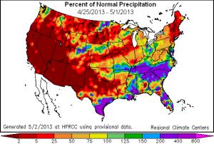 us precipitation anomalies map week 25 apr