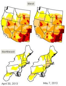 us regional drought map 7may2013