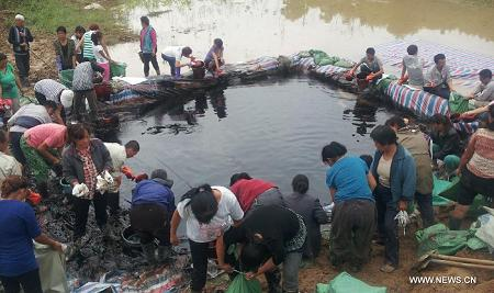 oil pipeline damaged in China floods