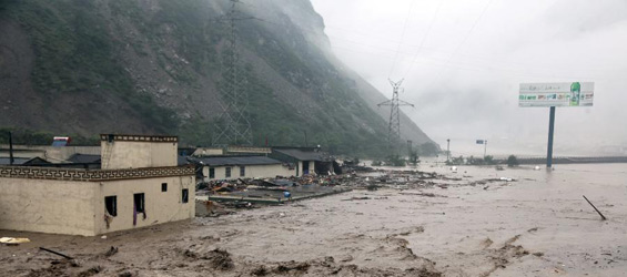 Rainstorms trigger landslide flood in Wenchuan SW China